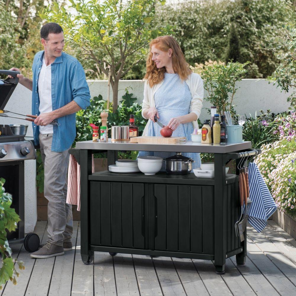 desserte r sine keter pour barbecue l123 7 l54 cm plantes et jardins. Black Bedroom Furniture Sets. Home Design Ideas