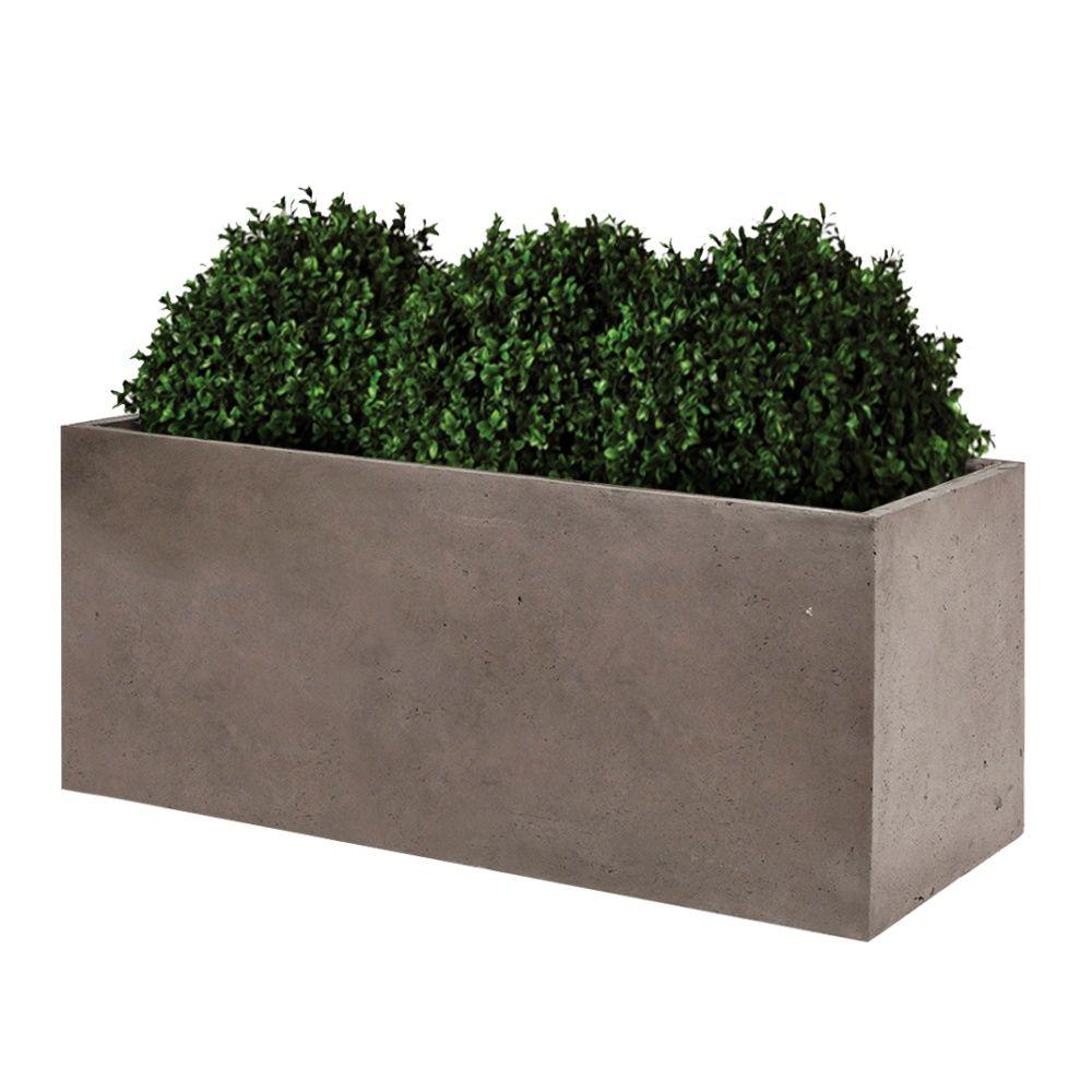 Bac fleurs fibre de terre clayfibre l100 h50 cm taupe plantes et jardins - Bac a plantes ...