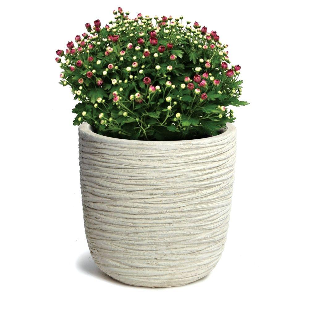 Pot fibre de terre stri e clayfibre 53 h51 cm blanc for Gros pot decoratif exterieur