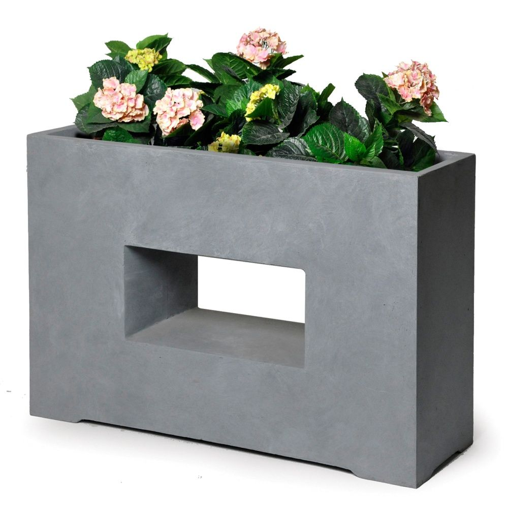 bac fleurs design fibre de terre l75 h53 cm gris. Black Bedroom Furniture Sets. Home Design Ideas