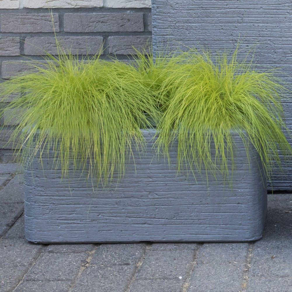 Bac fleurs fibre de terre stri e clayfibre l80 h40 cm for Bac plante jardin