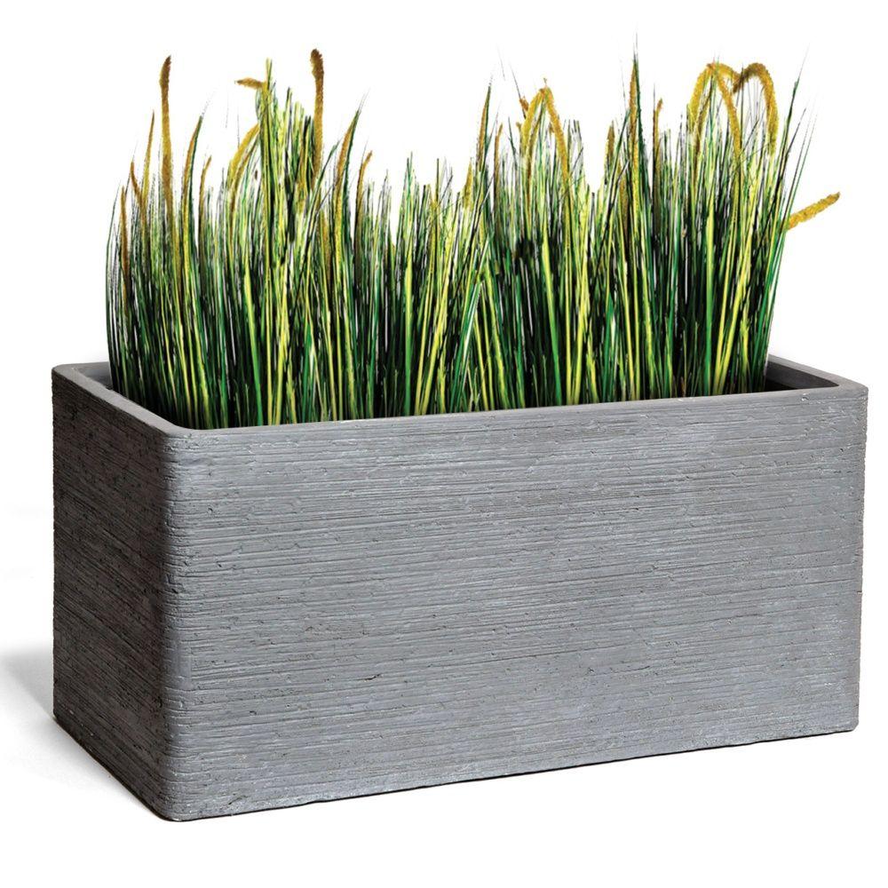 bac fleurs fibre de terre stri e clayfibre l80 h40 cm gris plantes et jardins. Black Bedroom Furniture Sets. Home Design Ideas