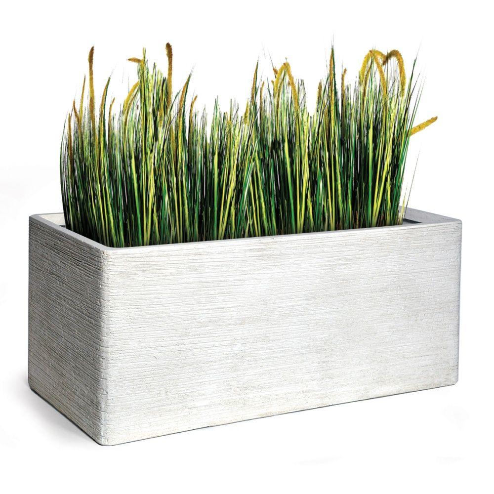 bac à fleurs fibre de terre striée clayfibre l100 h45 cm blanc