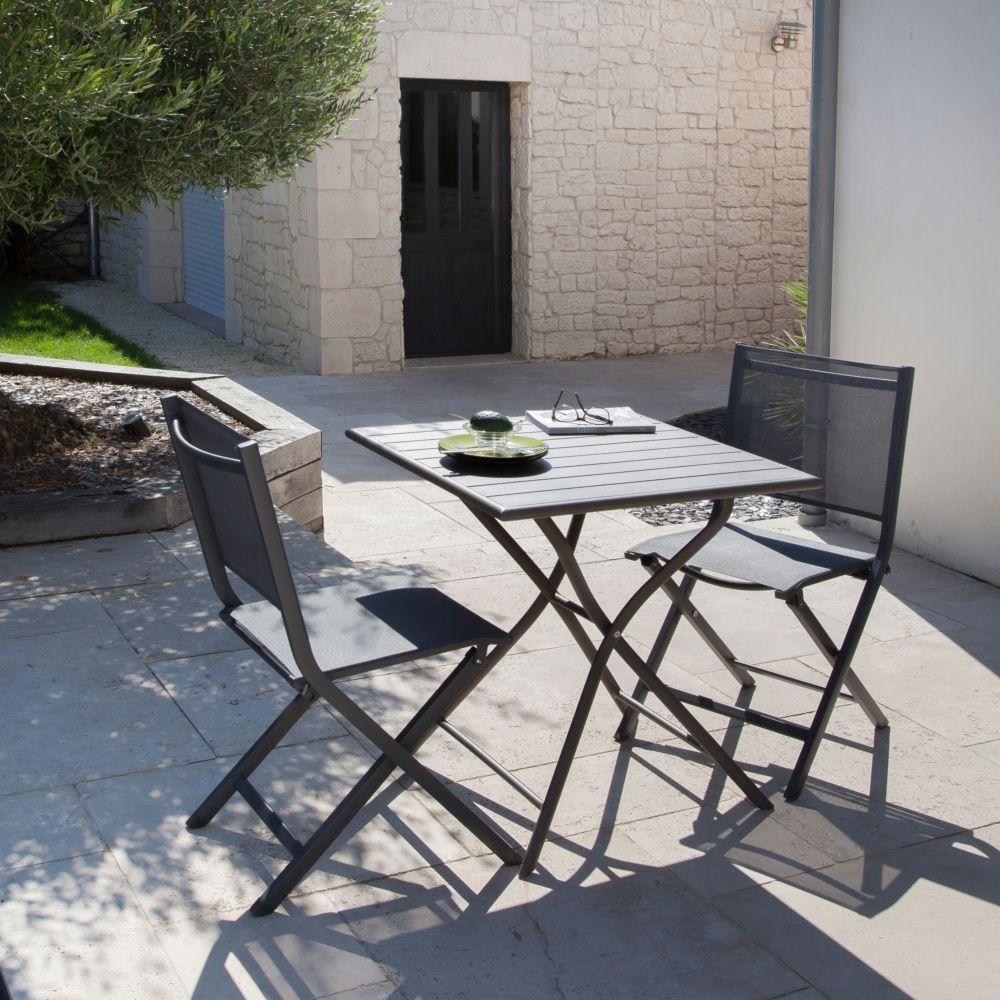 table pliante globe aluminium l70 h74 cm gris plantes et jardins. Black Bedroom Furniture Sets. Home Design Ideas