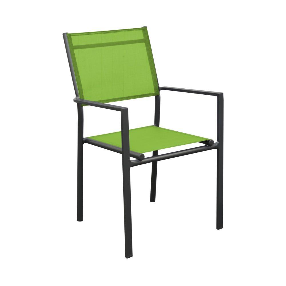 fauteuil thema aluminium textil ne gris vert plantes et jardins. Black Bedroom Furniture Sets. Home Design Ideas