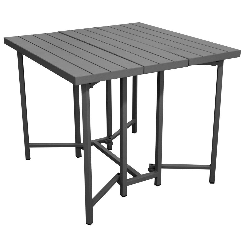 table pliante caly l90 p90 cm aluminium gris plantes et jardins. Black Bedroom Furniture Sets. Home Design Ideas