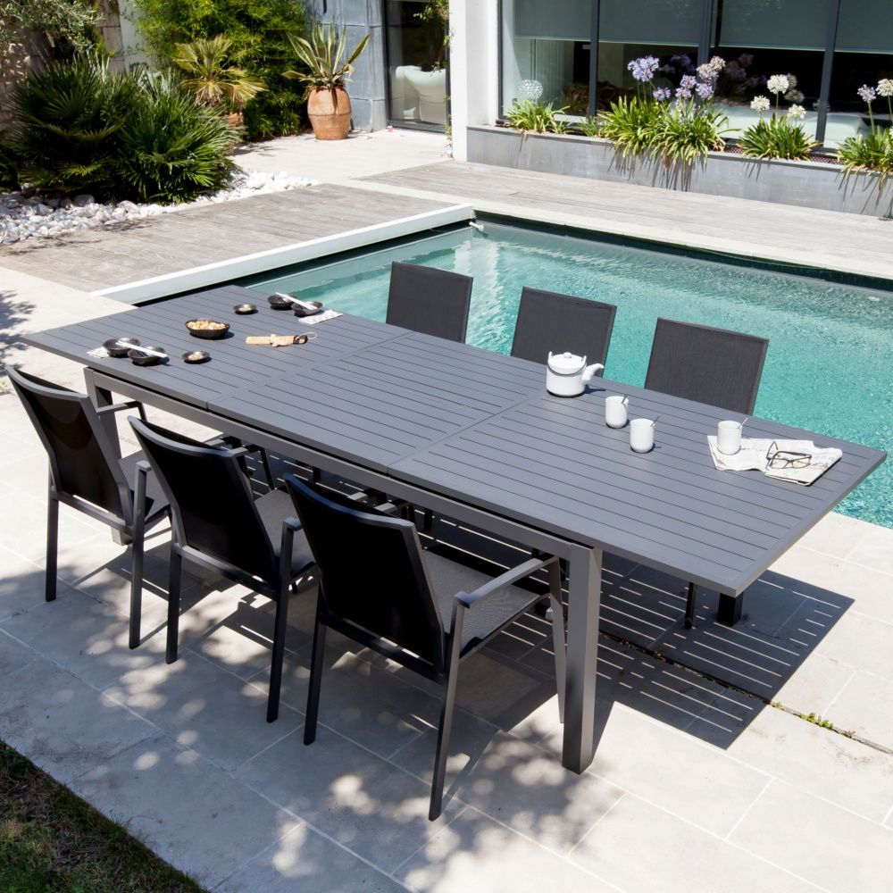 Table de jardin bois composite gris des for Comment nettoyer de l aluminium