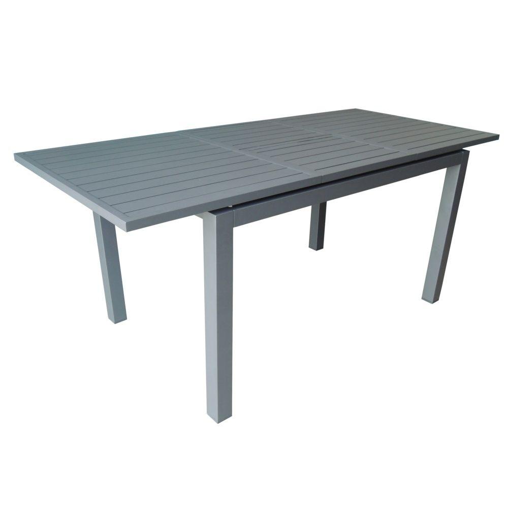 Table de jardin trieste aluminium l130 180 l82 cm gris - Table jardin aluminium avec rallonge fort de france ...