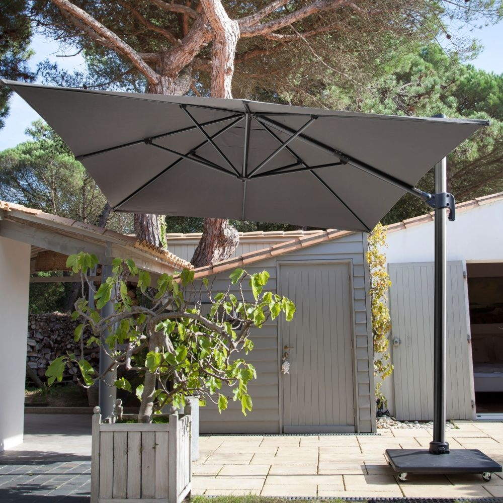 parasol d port inclinable aluminum 3x4 m gris plantes. Black Bedroom Furniture Sets. Home Design Ideas