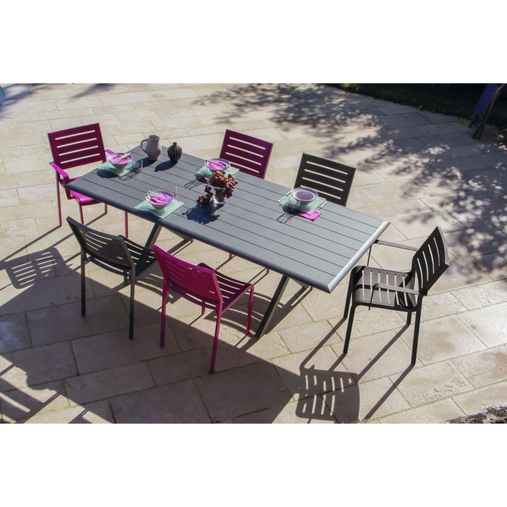 Table de jardin bridge aluminium l220 l100 cm gris for Portillon jardin largeur 90 cm