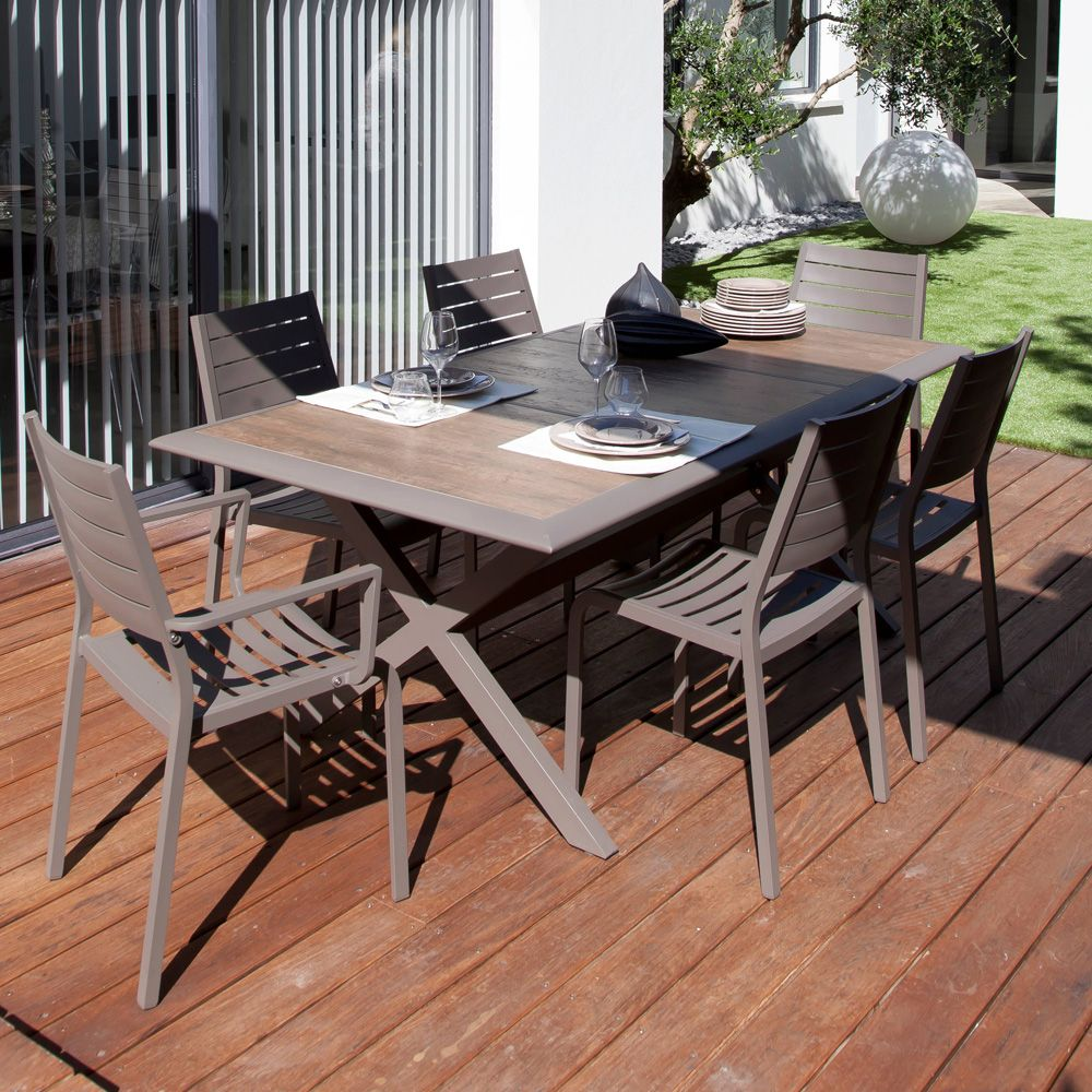 Table de jardin ceram aluminium plateau c ramique caf - Plateau pour table de jardin ...