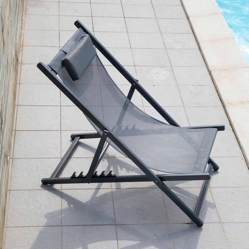 transat pliant linea aluminium textil ne gris plantes et jardins. Black Bedroom Furniture Sets. Home Design Ideas