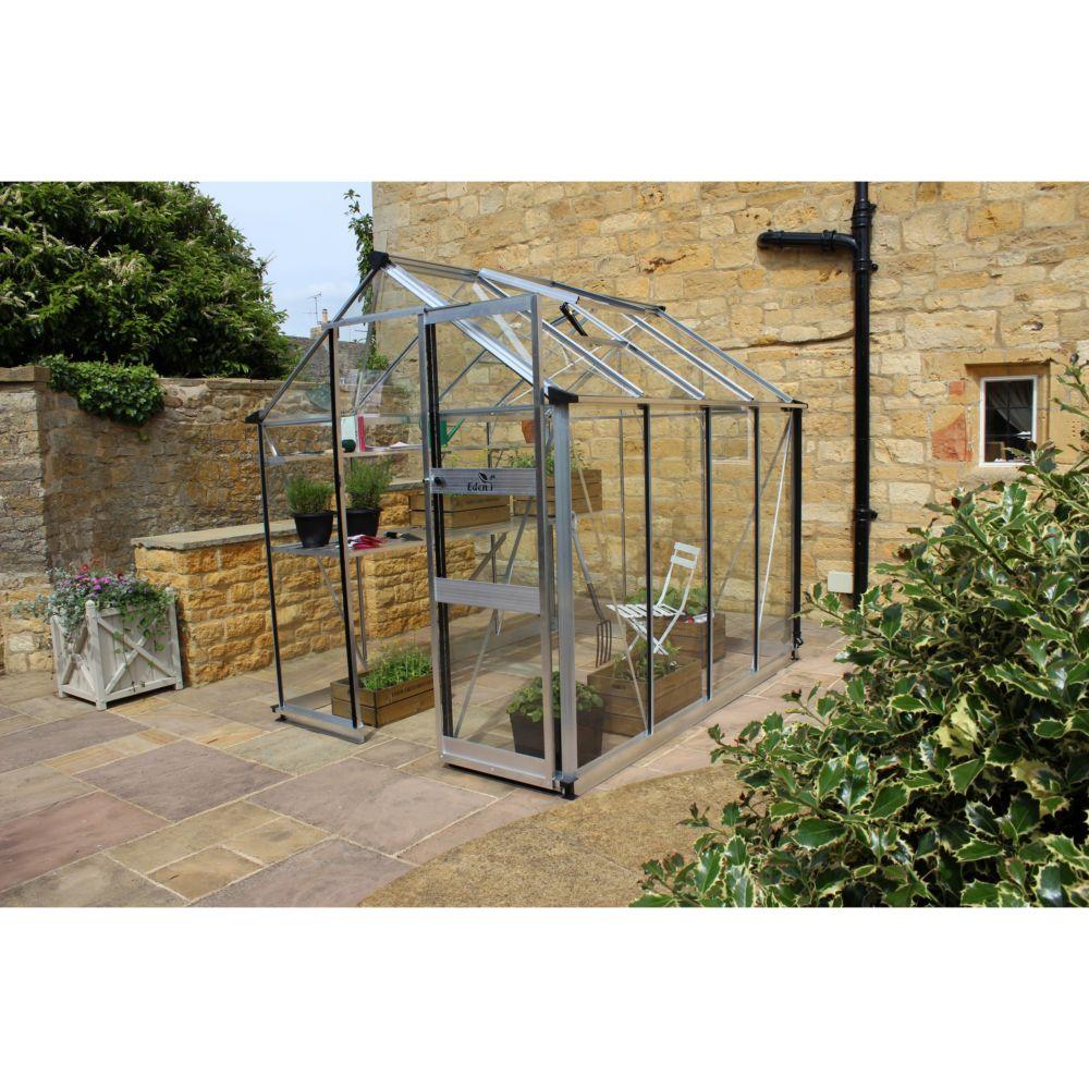 serre de jardin jardin burford verre tremp 5 m kit accessoires embase eden plantes et. Black Bedroom Furniture Sets. Home Design Ideas