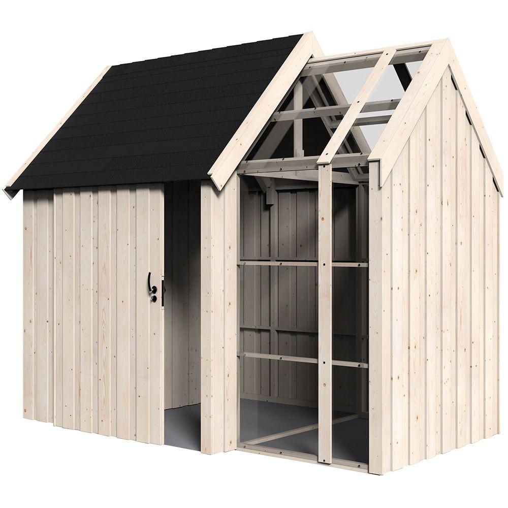Abri de jardin bois Vertigo avec Serre 7,39 m² Ep.28 mm - Plantes ...