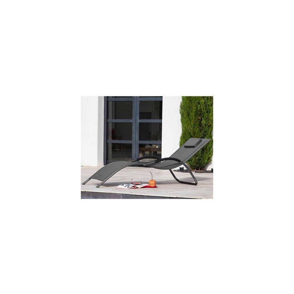 Chaise longue riva aluminium et textil ne gris plantes for Chaise longue aluminium et textilene