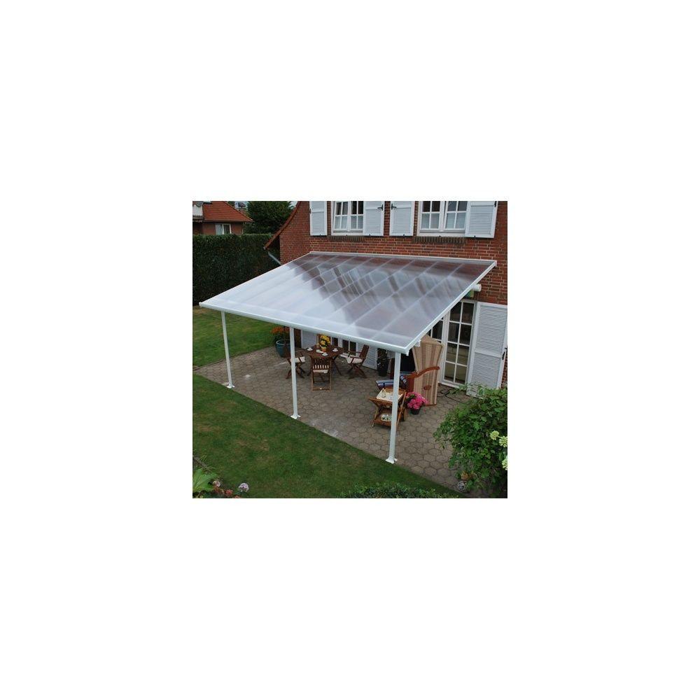 Pergola toit terrasse aluminium et polycarbonate 5x3 m blanc plantes et jar - Pergola aluminium toit polycarbonate ...
