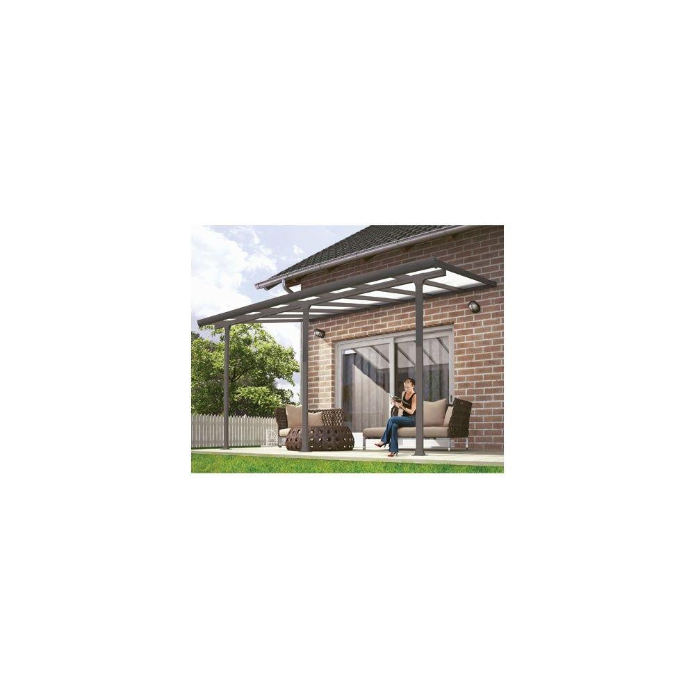 pergola toit terrasse aluminium et polycarbonate 4x3 m gris plantes et jardins. Black Bedroom Furniture Sets. Home Design Ideas
