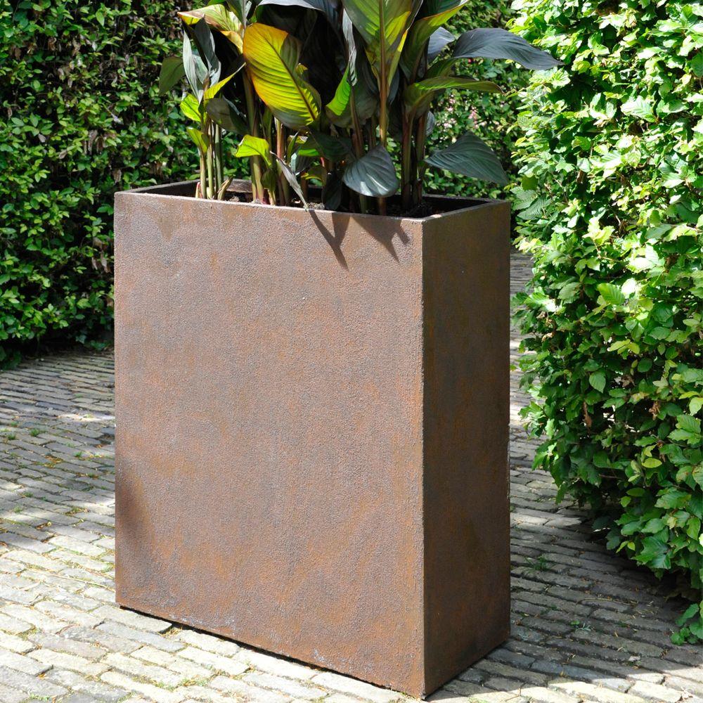 Bac fleurs fibre de terre effet rouille texas l80 h92 cm for Decoration jardin rouille
