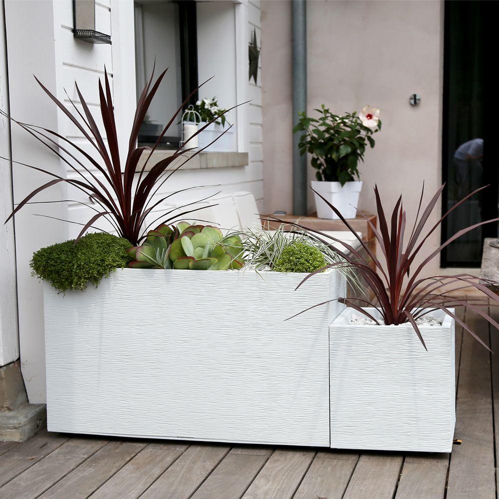 bac carr graphit r sine l39 h43 cm blanc plantes et jardins. Black Bedroom Furniture Sets. Home Design Ideas