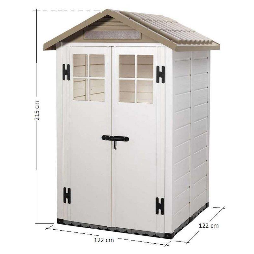 Petit abri de jardin r sine pvc 1 49 m ep 22 mm evo 120 for Portillon jardin largeur 90 cm