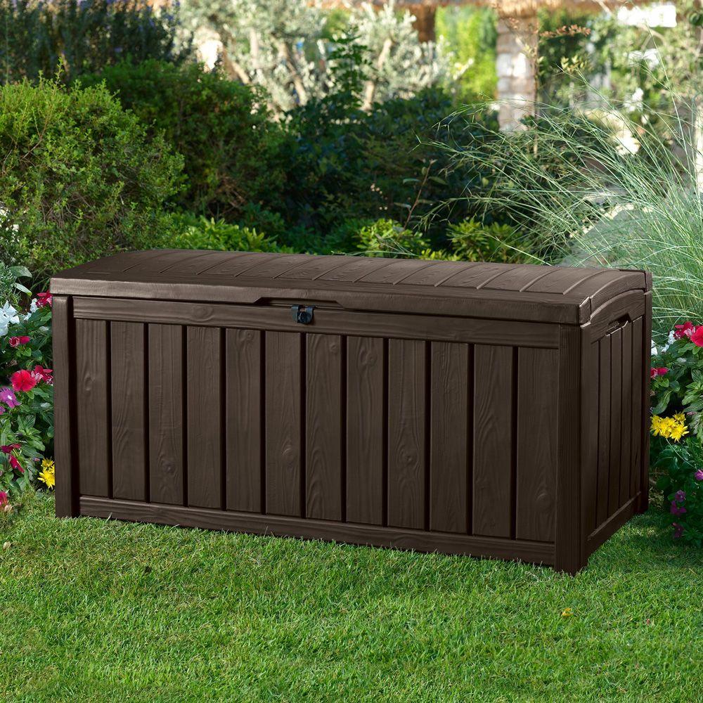 Coffre de jardin r sine glenwood 390l marron plantes et - Coffre jardin resine ...