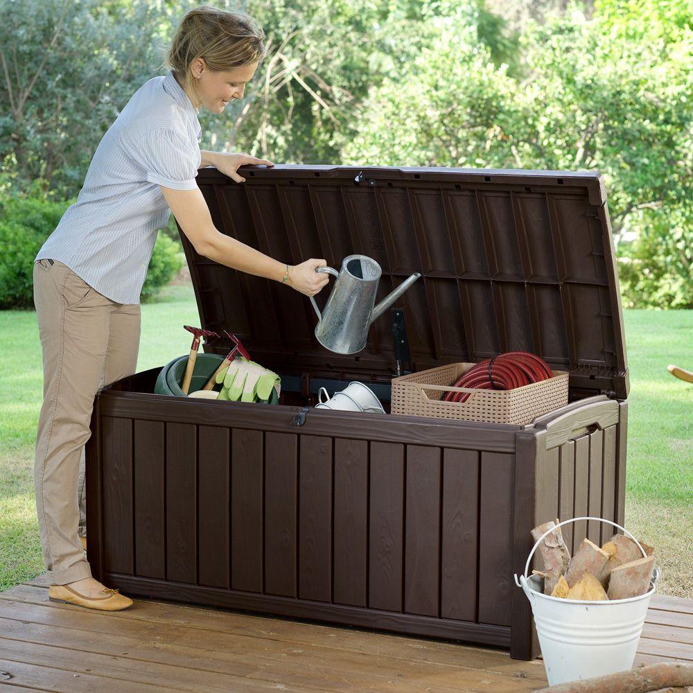 coffre de jardin r sine glenwood 390l marron plantes et jardins. Black Bedroom Furniture Sets. Home Design Ideas