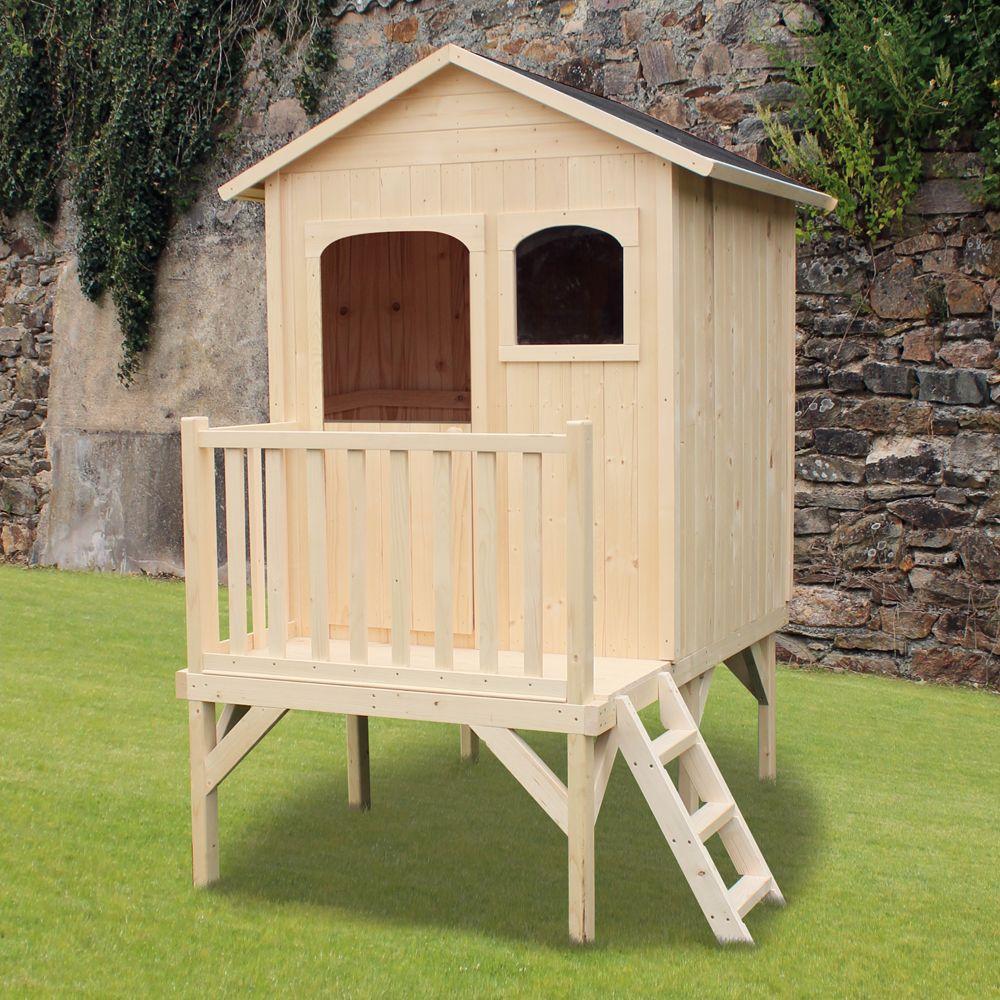 Maisonnette enfant bois sur pilotis plantes et jardins - Maisonnette en bois sur pilotis ...