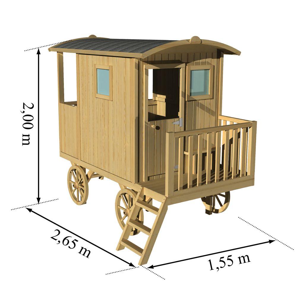 roulotte enfant bois sur pilotis carry plantes et jardins. Black Bedroom Furniture Sets. Home Design Ideas