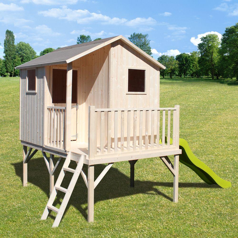 maisonnette enfant bois sixtine sur pilotis avec toboggan plantes et jardins. Black Bedroom Furniture Sets. Home Design Ideas