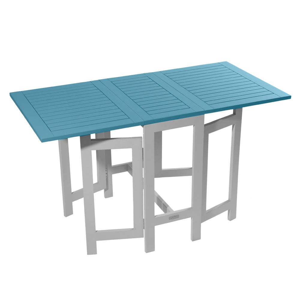 Table console pliante city green burano bois l37 135 l65 cm bleu plantes et - Table pliante modulable ...