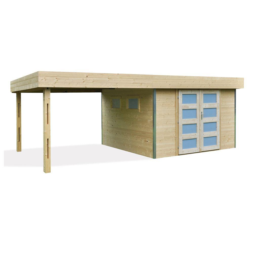 abri de jardin bois toit plat auvent m ep 28 mm lounj plantes et jardins. Black Bedroom Furniture Sets. Home Design Ideas