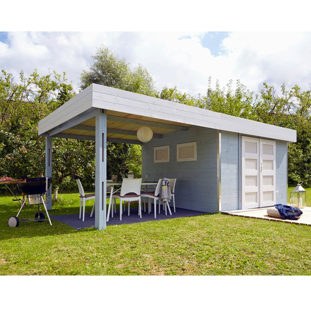 Abri de jardin bois toit plat + auvent 20.37 m² Ep. 28 mm Lounj ...