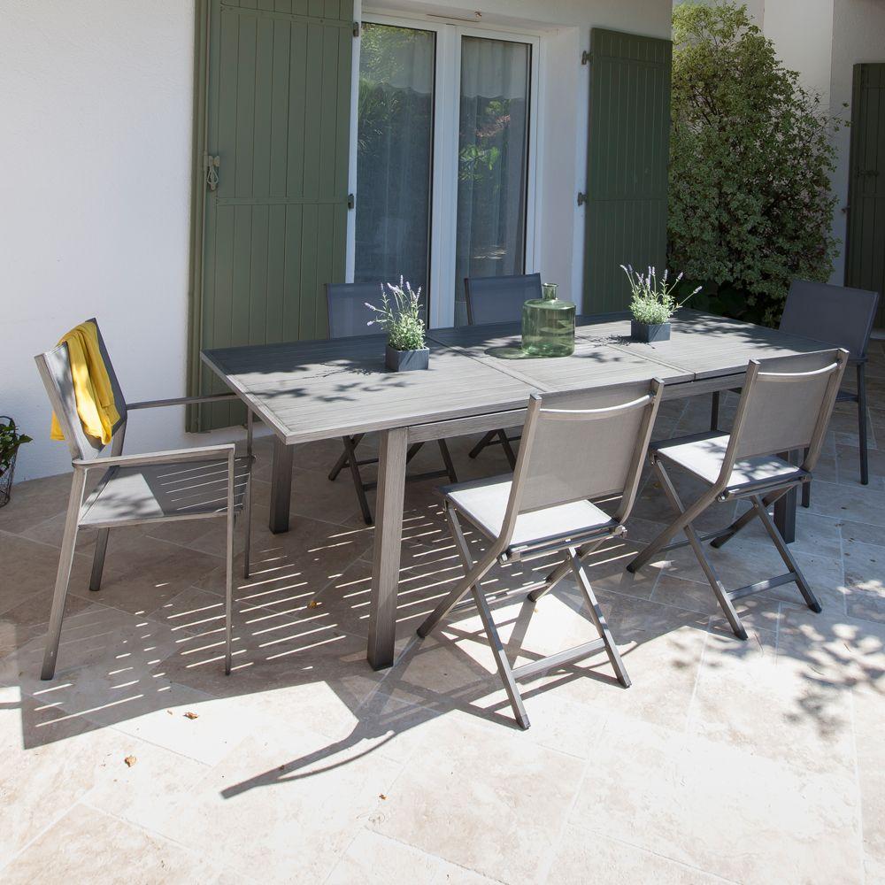 salon de jardin table trieste l180 240 l102 cm 6 fauteuils thema argent plantes et jardins. Black Bedroom Furniture Sets. Home Design Ideas
