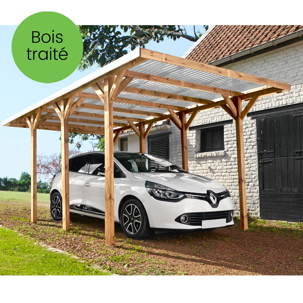 Carport bois trait madeira max 15 72 m plantes et jardins - Bois de jardin traite ...