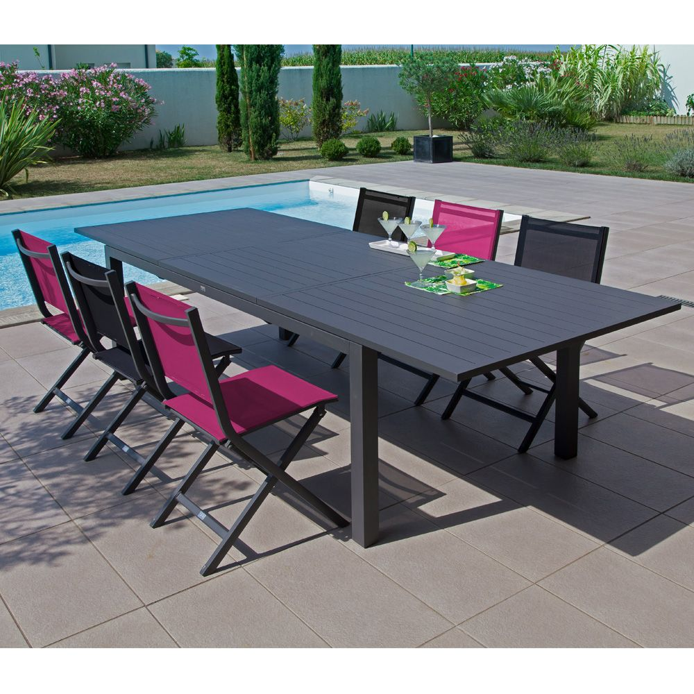 table de jardin trieste aluminium l200 280 l103 cm gris plantes et jardins. Black Bedroom Furniture Sets. Home Design Ideas