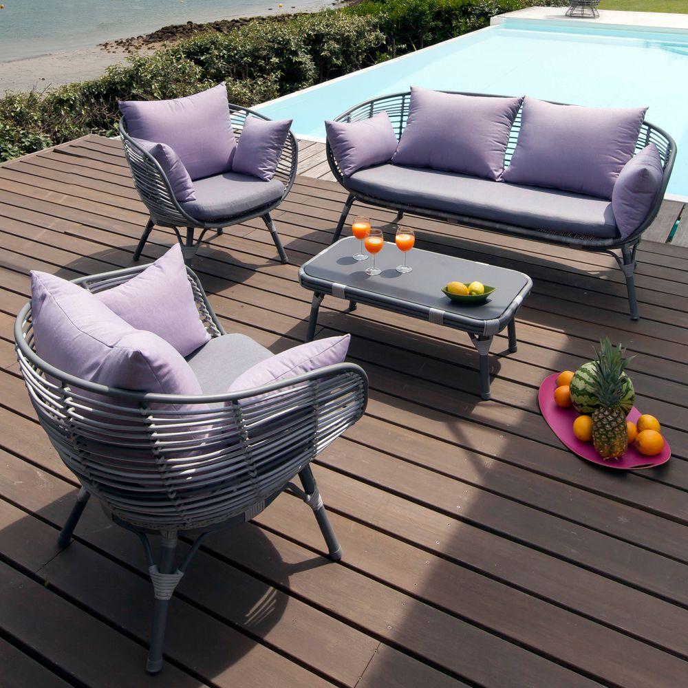 Salon de jardin Arguin aluminium/résine : table basse + 2 ...