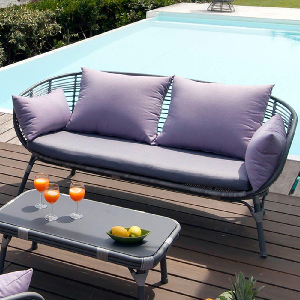 Salon de jardin arguin aluminium r sine table basse 2 for Canape de jardin aluminium