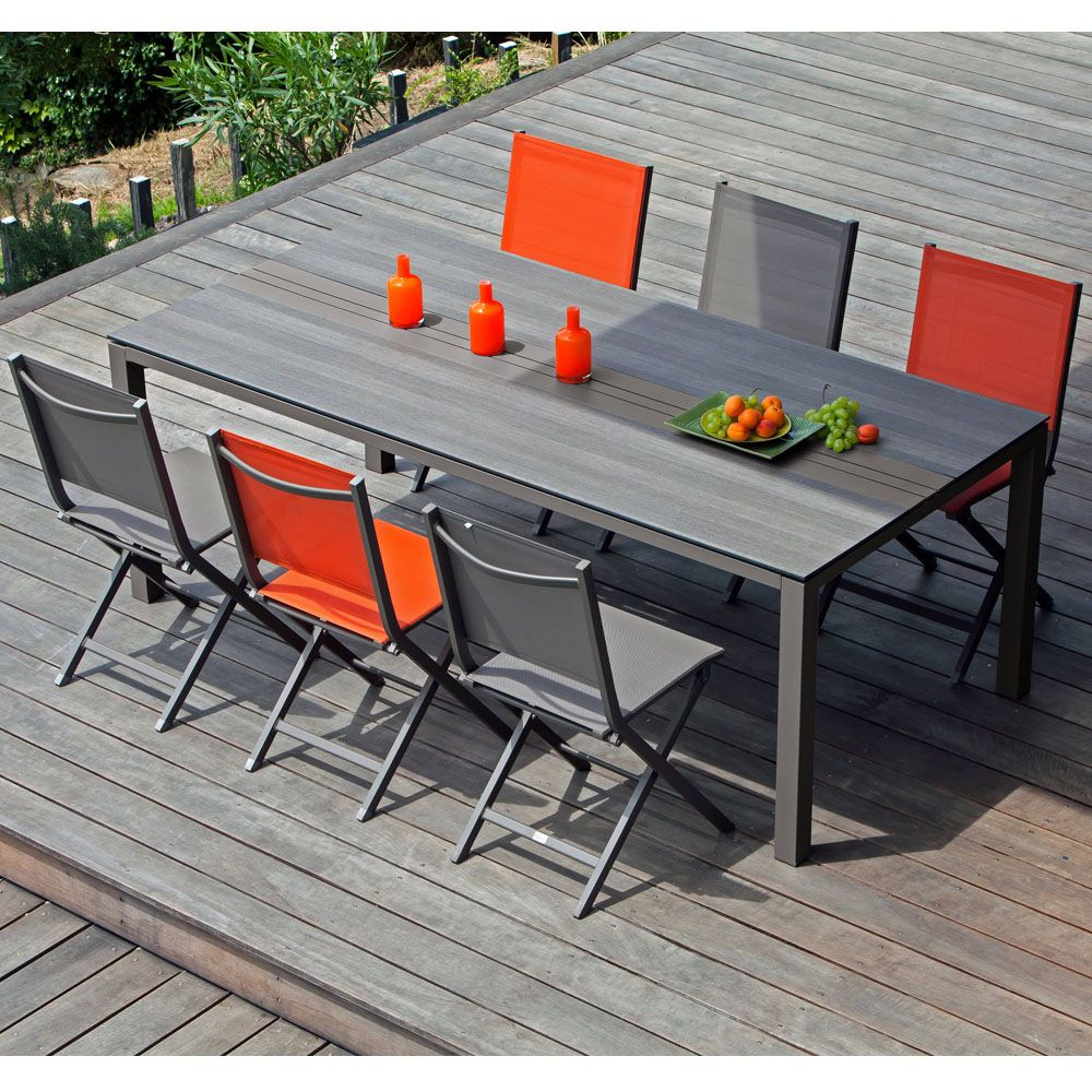 table de jardin gall o aluminium hpl l210 l100 cm caf. Black Bedroom Furniture Sets. Home Design Ideas