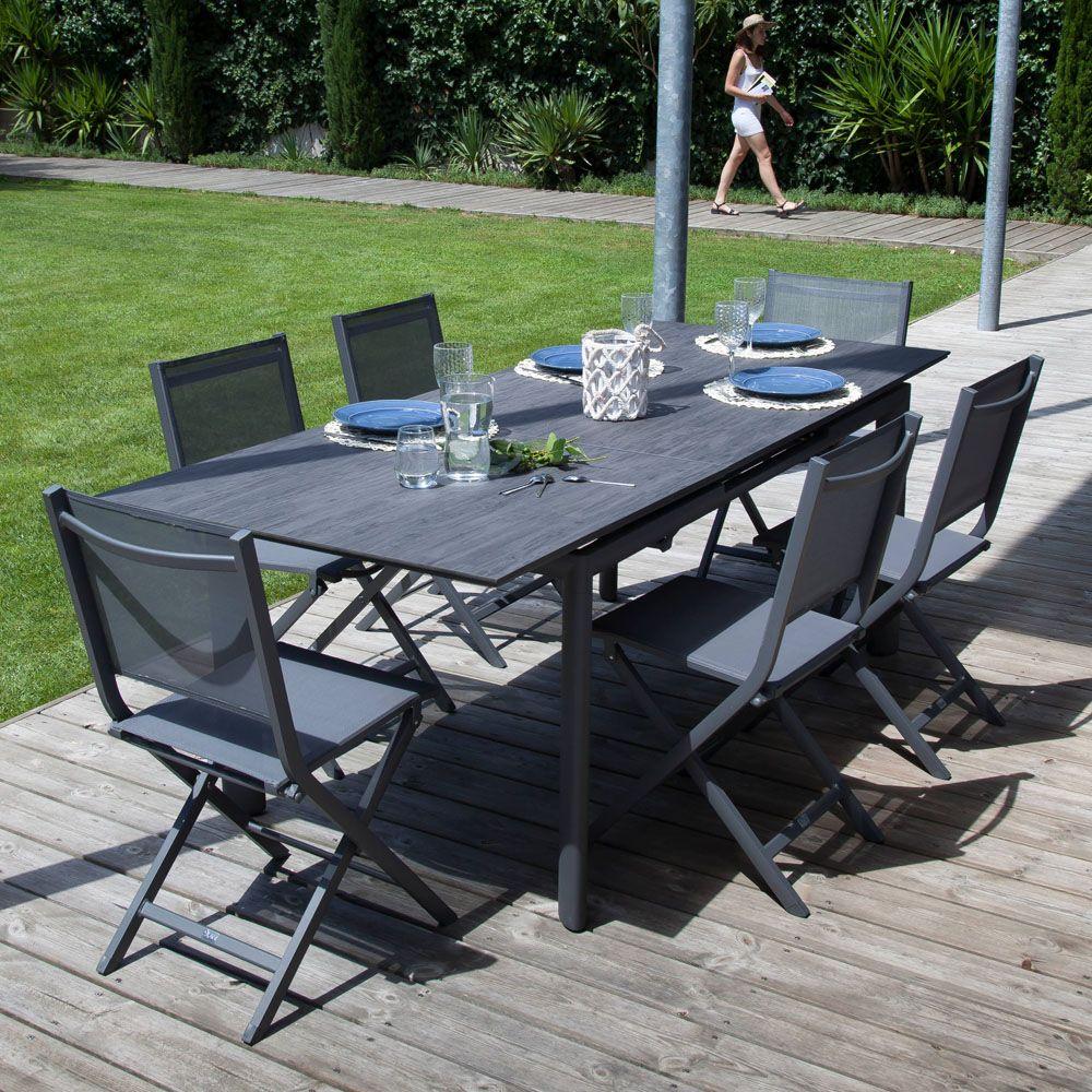Table De Jardin Miami Aluminium Hpl L168 223 L90 Cm Gris Brun Plantes Et Jardins