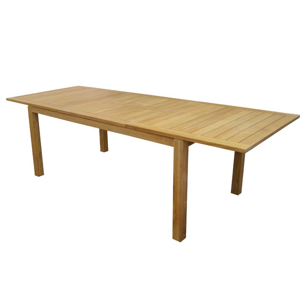 Table de jardin madagascar teck l180 240 l100 cm plantes for Table de 100