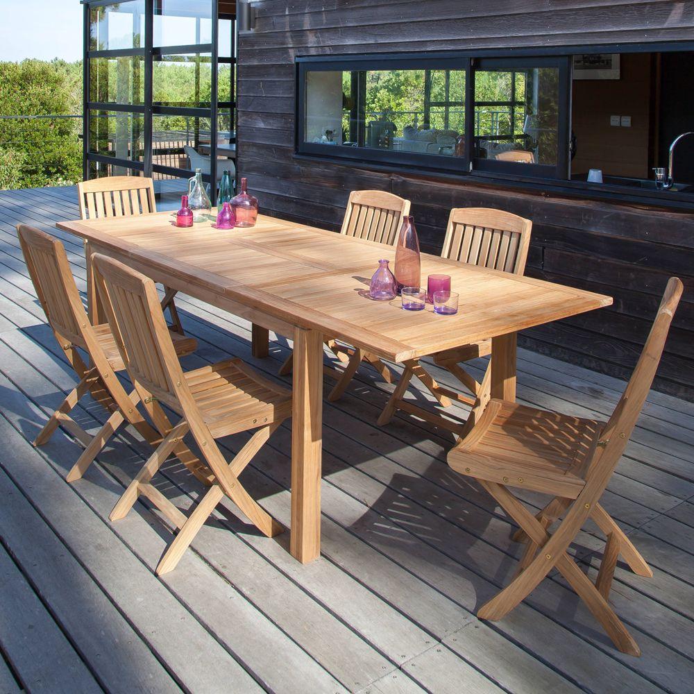 lot de 2 chaises pliantes macon teck plantes et jardins. Black Bedroom Furniture Sets. Home Design Ideas