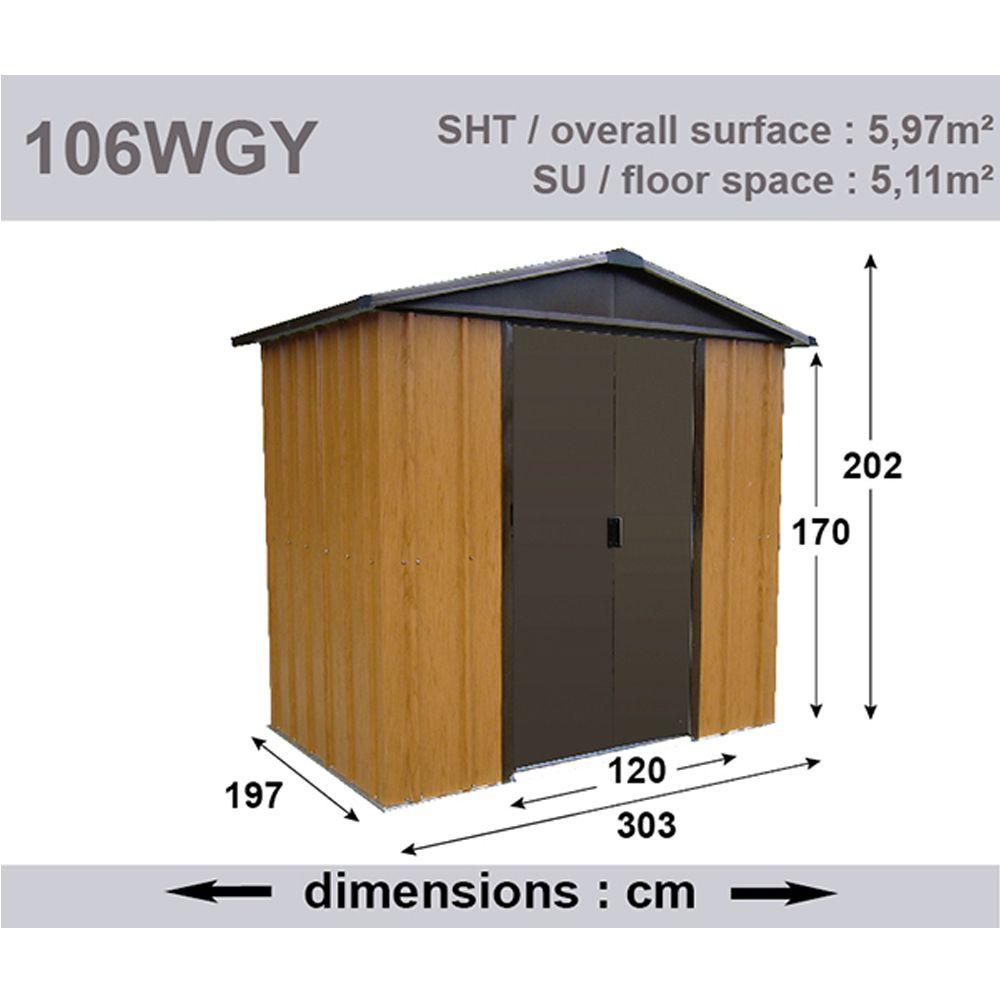 Petit abri de jardin m tal aspect bois 5 97 m ep 0 30 mm for Petit abri de jardin bois