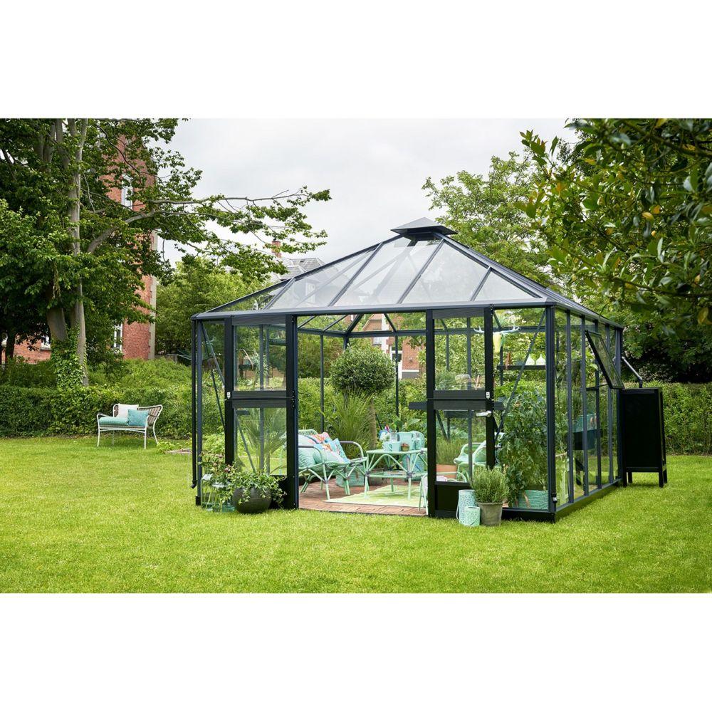 Serre De Jardin En Verre Tremp Oase 13 5 M Anthracite Juliana Plantes Et Jardins