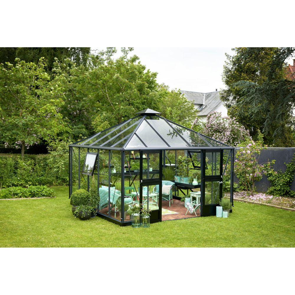 serre de jardin en verre tremp oase 13 5 m anthracite. Black Bedroom Furniture Sets. Home Design Ideas