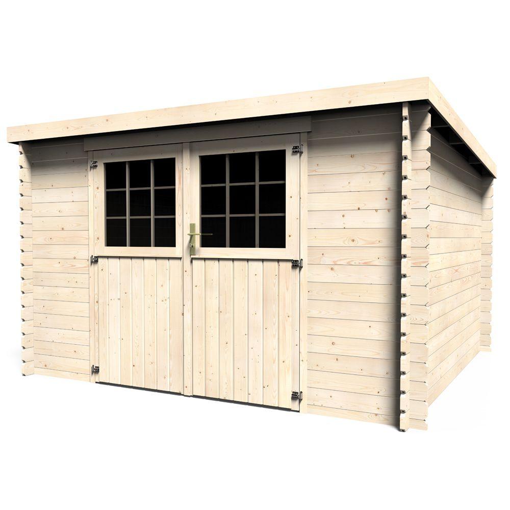 Abri de jardin bois 9 90 m ep 28 mm toit plat elan for Abri jardin bois toit plat