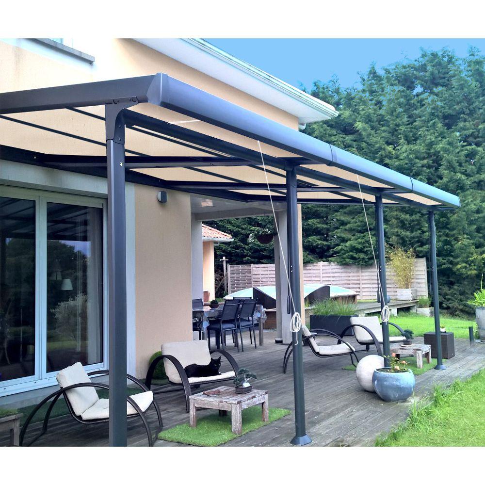 tonnelle adoss e aluminium stores enroulables 3 5x6 m azura plantes et jardins. Black Bedroom Furniture Sets. Home Design Ideas