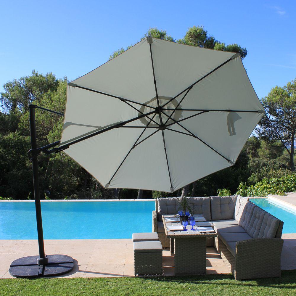 parasol d centr inclinable aluminium 350 cm roxane gris plantes et jardins. Black Bedroom Furniture Sets. Home Design Ideas
