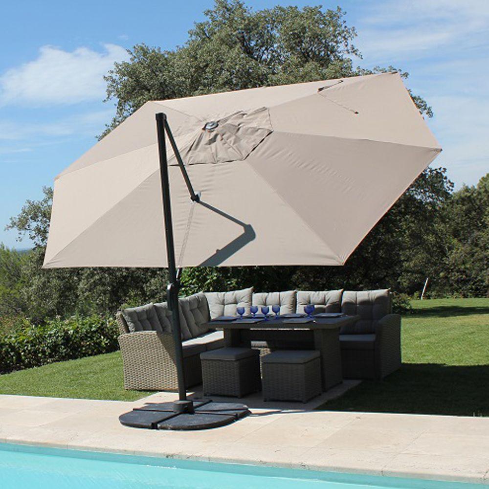 Parasol d centr aluminium 4 2x3 m marco gris plantes et - Soldes parasols jardin ...