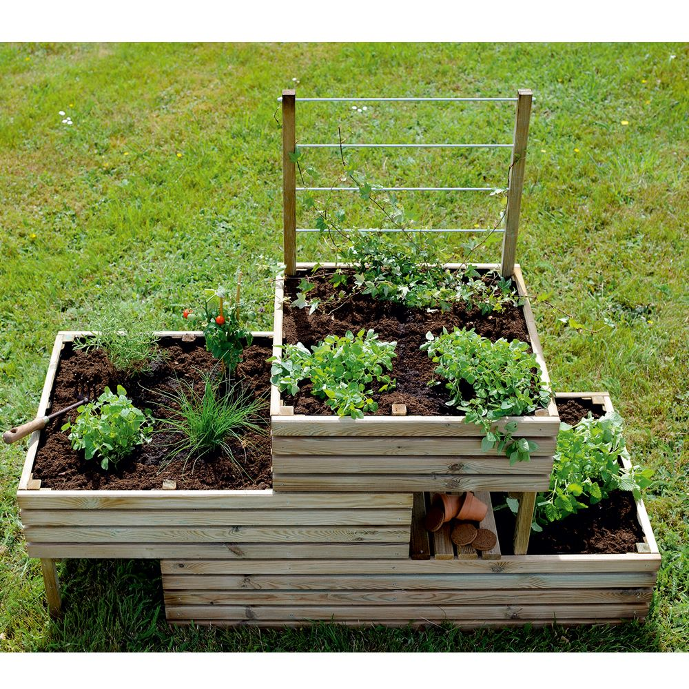 carr potager avec treillis bois trait l147 5 h117 cm k b plantes et jardins. Black Bedroom Furniture Sets. Home Design Ideas