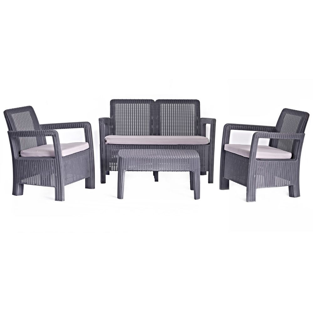 Salon de jardin résine St-Barth : canapé + 2 fauteuils + table ...
